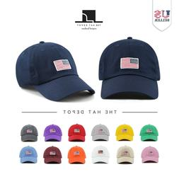 Cotton Hat - USA/ Flag Embroidered Washed Cotton Low Profile