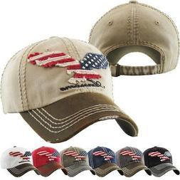 Vintage Distressed Hat Baseball Cap - Eagle Flag USA - KBETH