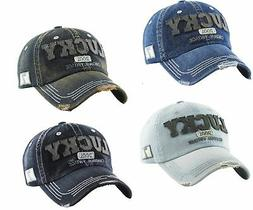 Kbethos Vintage Distressed Hat Baseball Cap - Lucky Denim -