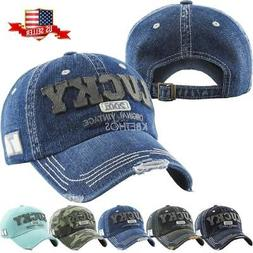 82ae2f4b0a0c1a Vintage Distressed Hat Baseball Cap - Lucky Denim - KBETHOS