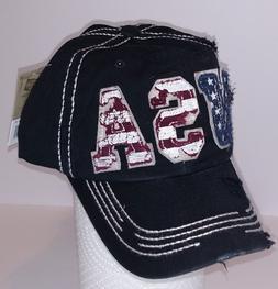 KBETHOS Vintage Distressed U S A  Baseball Cap Hat, Black ~