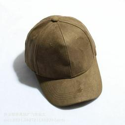 Vintage Faux Suede Baseball Cap Womens Mens Adjustable Solid