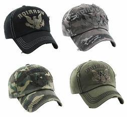 Warrior Eagle Vintage Hat Distressed Baseball Cap Adjustable
