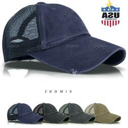 Washed Cotton Trucker Hat Distressed Mesh Baseball cap Vinta