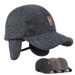 Winter Men's Outdoor Baseball Cap Warm Thick Hats  Ear Pro