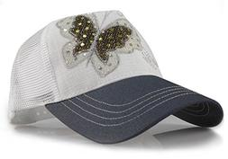 women s embroidered butterfly studded precurved baseball
