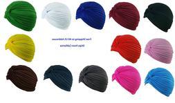 Women's Stretchy Turbans Head Chemo Hijab Pleated Hats 1Pc 6