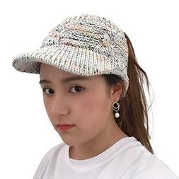 Byyong Women Twist Peaked Cap Knit Wool Hat Hollow Out Multi